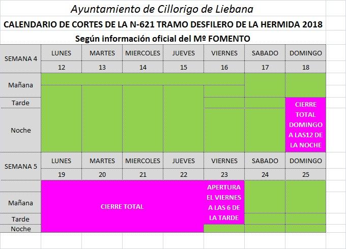 CALENDARIO DE CORTES N621 DESFILADERO HERMIDA